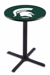 Michigan State University 36''H Black Wrinkle Finish Counter Height Pub Table with X-Base [L211B36MICHST-FS-HOB]