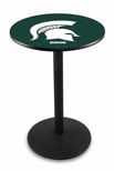 Michigan State University 36''H Black Wrinkle Finish Counter Height Pub Table with Round Base [L214B36MICHST-FS-HOB]