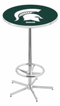 Michigan State University 42''H Chrome Finish Bar Height Pub Table with Foot Ring [L216C42MICHST-FS-HOB]