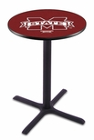 Mississippi State University 36''H Black Wrinkle Finish Counter Height Pub Table with X-Base [L211B36MSSSTU-FS-HOB]