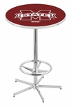 Mississippi State University 42''H Chrome Finish Bar Height Pub Table with Foot Ring [L216C42MSSSTU-FS-HOB]