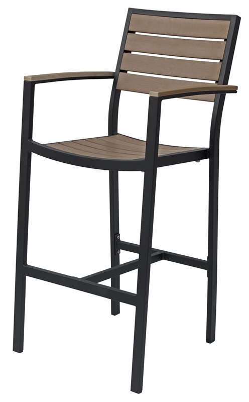 Napa outdoor bar arm chair with gray durawood slat back for Furniture 4 less napa
