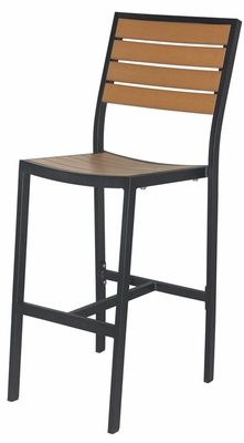 Napa outdoor armless bar chair with teak durawood slat for Furniture 4 less napa
