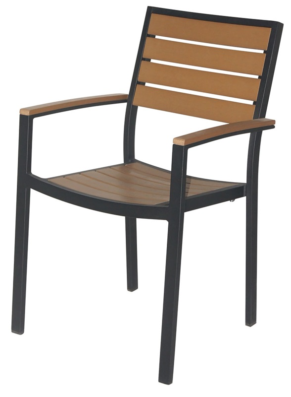 Napa outdoor dining arm chair with teak durawood slat back for Furniture 4 less napa