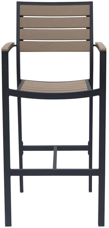 Napa outdoor stackable bar arm chair with gray durawood for Furniture 4 less napa