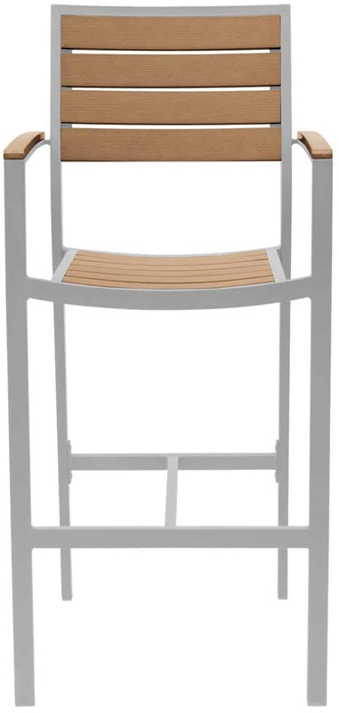 Napa outdoor bar arm chair with teak durawood slat back for Furniture 4 less napa