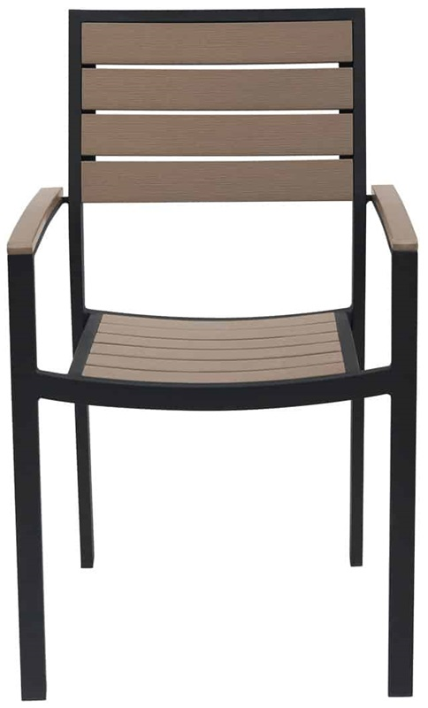 Napa outdoor dining arm chair with gray durawood slat back for Furniture 4 less napa