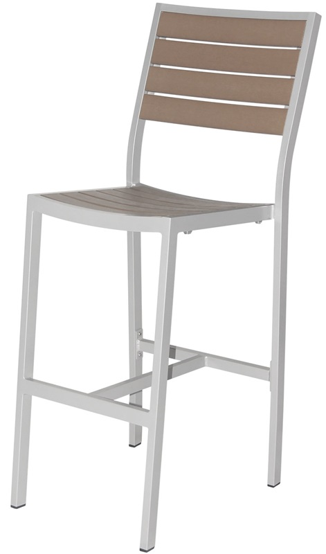 Napa Outdoor Armless Bar Side Chair With Gray Durawood