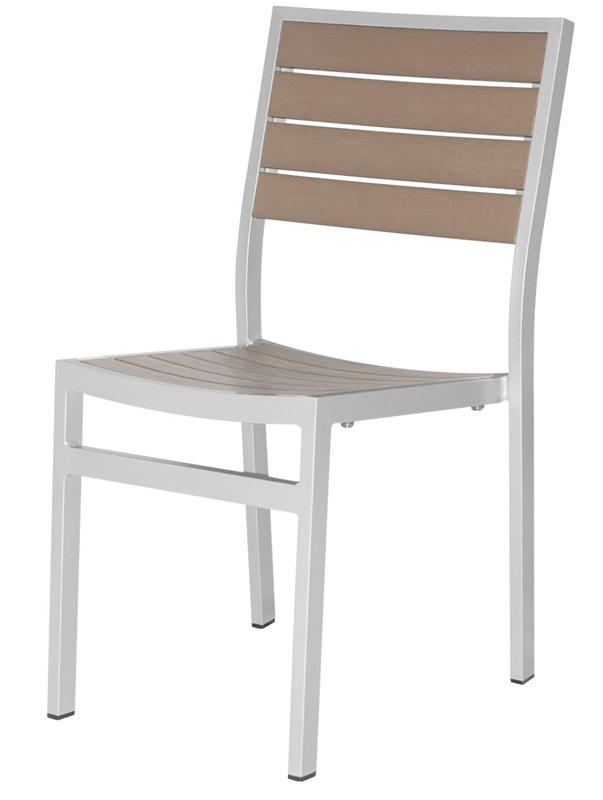 Napa outdoor armless dining side chair with gray durawood for Furniture 4 less napa