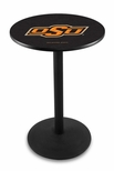 Oklahoma State University 36''H Black Wrinkle Finish Counter Height Pub Table with Round Base [L214B36OKSTUN-FS-HOB]