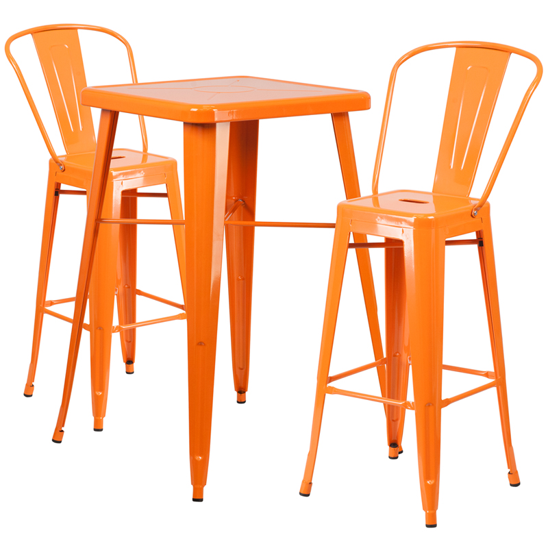 Click on a thumbnail to Enlarge - 23.75'' Square Orange Metal Indoor-Outdoor Bar Table Set With 2