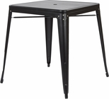 OSP Designs Bristow Metal Dining Table with Umbrella Hole - Matte Black Finish [BRW432U-C230-FS-OS]
