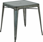 OSP Designs Bristow Metal Dining Table with Umbrella Hole - Matte Galvanized Finish [BRW432U-C210-1-FS-OS]
