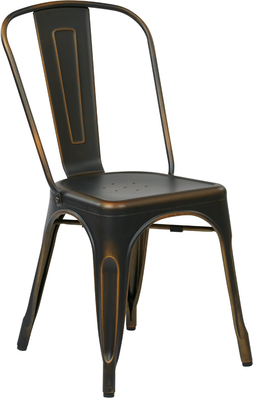 OSP Designs Bristow Stackable Armless Metal Chair Set of 2