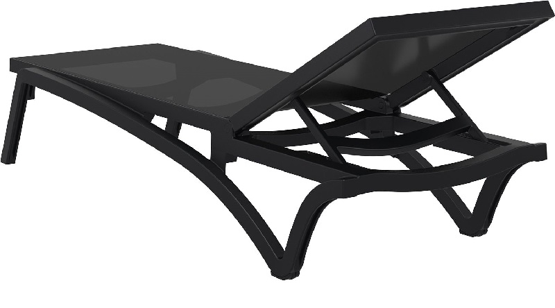 Pacific resin stackable black mesh sling chaise lounge for Black mesh chaise lounge