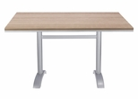 Nevada 48'' x 32'' Rectangular Gray Durawood Table Top with Palm 2 Aluminum Table Base - Black [SC-1002-587-SC-2401-414-NEV-GRY-SCON]