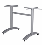 Palm 2 Heavy Duty Cast Iron Double Column Table Base with Arched Base - Anodized Silver [SC-1002-587-ANS-SCON]