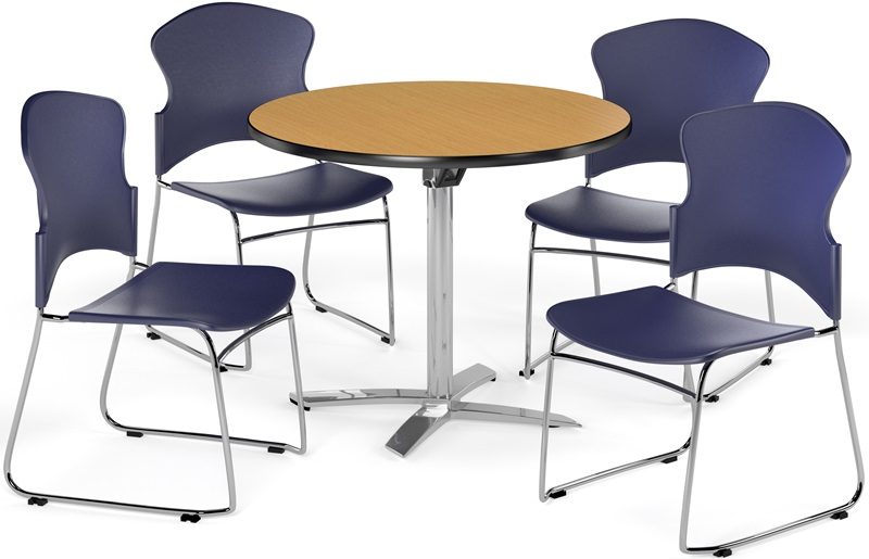 Multi Purpose 36 Round Flip Top Table With 4 Plastic Stack Chairs Oak Table Finish