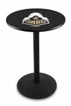 Purdue University 36''H Black Wrinkle Finish Counter Height Pub Table with Round Base [L214B36PURDUE-FS-HOB]