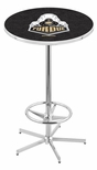Purdue University 42''H Chrome Finish Bar Height Pub Table with Foot Ring [L216C42PURDUE-FS-HOB]