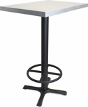 Rectangular Zinc Table with Bar Height Black Steel Base - 24''W X 30''L [JC110T-MIO]