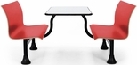 Retro Bench 30'' x 48'' Stainless Steel Top and Center Frame - Red Seats [1007M-RED-MFO]