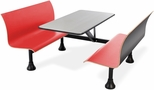 Retro Bench 30'' x 48'' Stainless Steel Top and Wall Frame - Red Seats [1007W-RED-MFO]