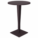 27.5''W Riva Werzalit Top Round Bar Height Table - Brown [ISP886-BR-FS-CMP]