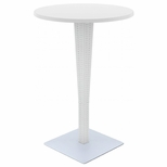 Riva Outdoor Wickerlook Resin Bar Height Table Base with 28'' Round Werzalit Top - White [ISP886-WH-FS-CMP]