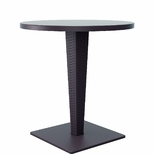 Riva Outdoor Wickerlook Resin Dining Table Base with 28'' Round Werzalit Top - Brown [ISP882-BR-FS-CMP]