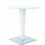 Riva Outdoor Wickerlook Resin Dining Table Base with 28'' Round Werzalit Top - White [ISP882-WH-FS-CMP]