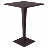 Riva Outdoor Wickerlook Resin Bar Height Table Base with 28'' Square Werzalit Top - Brown [ISP888-BR-FS-CMP]