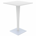 Riva Outdoor Wickerlook Resin Bar Height Table Base with 28'' Square Werzalit Top - White [ISP888-WH-FS-CMP]