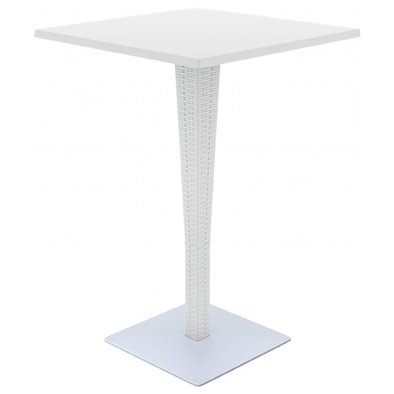 Riva Outdoor Wickerlook Resin Bar Height Table Base with 28 Square  -> White Sand Outdoor Resin Table