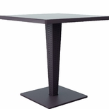 Riva Outdoor Wickerlook Resin Dining Table Base with 28'' Square Werzalit Top - Brown [ISP884-BR-FS-CMP]