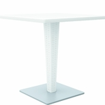 Riva Outdoor Wickerlook Resin Dining Table Base with 28'' Square Werzalit Top - White [ISP884-WH-FS-CMP]