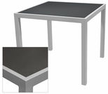 Sedona 28'' x 32'' Rectangular Table with Corsa Gunmetal Silver Table Top - Anodized Silver [SC-1014-412-GMS-SC-1009-516-ANS-SCON]