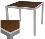 Sedona 28'' X 32'' Rectangular Table with Corsa Wenge Brown Table Top - Anodized Silver [SC-1014-412-WEN-SC-1009-516-ANS-SCON]