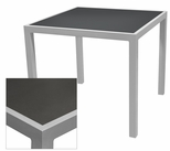 Sedona 32'' X 48'' Rectangular Table with Corsa Gunmetal Silver Table Top - Anodized Silver [SC-1014-414-GMS-SC-1009-524-ANS-SCON]