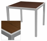 Sedona 32'' X 48'' Rectangular Table with Corsa Wenge Brown Table Top - Anodized Silver [SC-1014-414-WEN-SC-1009-524-ANS-SCON]