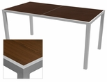 Sedona 32'' X 64'' Rectangular Table with Corsa Wenge Brown Table Top - Anodized Silver [SC-1014-405-WEN-SC-1009-521-ANS-SCON]