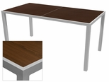 Sedona 32'' X 96'' Rectangular Table with Corsa Wenge Brown Table Top - Anodized Silver [SC-1014-405-WEN-SC-1009-522-ANS-SCON]