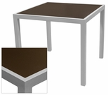 Sedona 24'' Square Table with Corsa Espresso Vein Table Top - Anodized Silver [SC-1014-402-ESP-SC-1009-511-ANS-SCON]