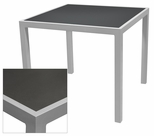 Sedona 24'' Square Table with Corsa Gunmetal Silver Table Top - Anodized Silver [SC-1014-402-GMS-SC-1009-511-ANS-SCON]