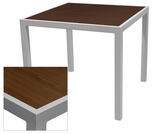 Sedona 24'' Square Table with Corsa Wenge Brown Table Top - Anodized Silver [SC-1014-402-WEN-SC-1009-511-SCON]