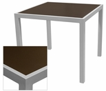 Sedona 28'' X 32'' Rectangular Table with Corsa Espresso Vein Table Top - Anodized Silver [SC-1014-412-ESP-SC-1009-516-ANS-SCON]