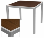 Sedona 32'' Square Table with Corsa Wenge Brown Table Top - Anodized Silver [SC-1014-405-WEN-SC-1009-520-SCON]