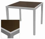 Sedona 36'' Square Table with Corsa Espresso Vein Table Top - Anodized Silver [SC-1014-406-ESP-SC-1009-527-ANS-SCON]