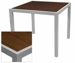Sedona 36'' Square Table with Corsa Wenge Brown Table Top - Anodized Silver [SC-1014-406-WEN-SC-1009-527-SCON]