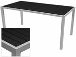 Sedona 28'' X 32'' Rectangular Table with Black Nevada Slat Table Top - Anodized Silver [SC-2401-412-BLK-SC-1009-516-ANS-SCON]
